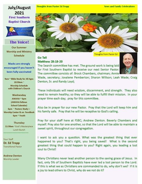 Image of FSBC Newsletter from July/August