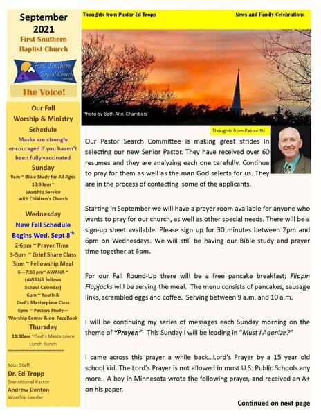 Image of FSBC Newsletter for september
