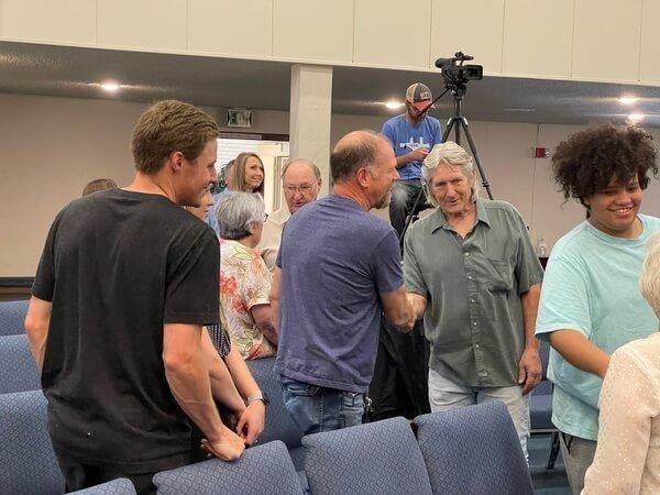 Gentleman shaking hands at First Southern Baptist Church